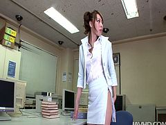 Sextractive office managers gets lured by her sex greedy boss right on her working place. He approaches her from behind to rub her juicy ass and big firm tits.