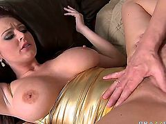 Sophie Dee wants Mark Ashley and she wants him bad. She finally gets his dick and she starts working on it with tits and mouth. He then plows both her pink holes and ravages her ass.