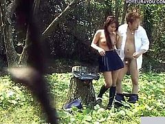 Watch a horny Asian teen temptress getting banged hard into heaven in the woods in this hot vid set by Voyeur 4 You. She loves a good rump when she thinks nobody is watching!