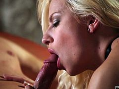This gorgeous blonde is quite a talented cock sucker! She takes her lover's dick in her insatiable mouth, sucks it back and forth pushing him to the edge of orgasm.