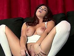 What a great glamour girlie Sabrina Maree is! Just watch the big boobed diva taking big black dildo and starting to stuff clean shaved alluring wet pussy by it.