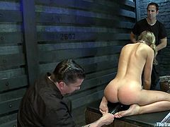Blonde babe sucks big dick with pleasure and gets tied up. Then guys fix clothespins to her face and tits. After that she gets fucked rough.