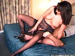 Hot milf in sexy lingerie enjoys face sitting and humiliating her stud during femdom porn