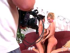 Hot blonde girl Silvia Saint is passionately fondling her lesbian brunette girlfriend and licking off her shaved twat at front of the camera.