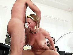 Lusty brunette slut Lolly Moon with natural boobs and slim sexy body gets her delicious firm ass banged balls deep while having mouth full with meaty cock in the office.