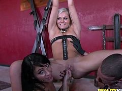 Lustful bitches are big fans of tough sex so they enjoy hardcore sex session on a set. Two slutty bitches suck dick deepthroat wearing leather ropes around their neck.