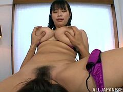 Big-breasted Japanese milf Hana Haruna pleases her man with a fantastic titjob and lets him eat her pussy. Then she stands on all fours and they have some naughty doggy style banging.