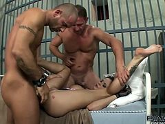 Arousing Anastasia Brill receives hard cocks in her tight ass and pussy during wild threesome