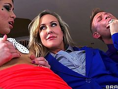 There is nothing Brandi Love and Riley Reid love more than to gag on long hard boners. They are opening their mouths really wide with pleasure...