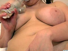 Anita tastes so good between her legs that she even tastes herself. Sexy and busty blonde girl licks her fingers after masturbation.