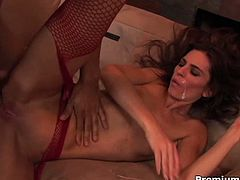 Naomi Russell is a real whore. She gets fucked in all her holes, double penetrated, brutalized and jizzed.