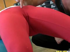 Slutty curvy and lissom gals are in the gym. Kinky brunette and blondie seduce their coach for threesome. While lucky bastard eats the wet juicy pussy of buxom brunette, horny blondie gives his strong dick a solid blowjob for sperm.