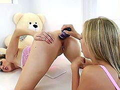 Chastity Lynn and hot Kiera King love to have some lesbian anal action including many crazy toys