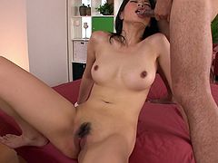 Alluring Japanese harlow gets pounded in doggy position before she sits in front of aroused dude to mouth fuck his sturdy cock while getting her hairy vagina finger fucked.