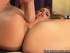 Kinky curvy slim blond head is just a dream girl. Appetizing slutty chick with flossy ass and sweet boobs likes a tough drilling of her wet pussy from behind. Even the overused missionary style brings astonishing whore lots of delight. Check her out in Naughty America sex clip and be sure to jizz at once.