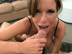 This kinky and filthy lady Veronica Avluv gets naked and starts sucking a huge cock with some passion! Oh, she is so fucking naughty!