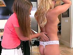 Mercedes Lynn and Katie Banks and enjoy lesbian sex too much to stop