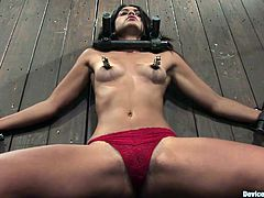 Kinky bondage scene with hot slut