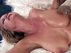 Hot blooded blond mature with big juicy tits gets her ruined pussy eaten and later pounded in missionary style before switching to doggy position.