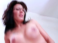 Seductive tight ass brunette milf Zoey Holloway with sexy glasses and big fake hooters gets her wet cunt drilled deep by young handsome buck Seth Gamble in amazing positions.