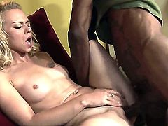 Teen blonde Melanie Jayne takes a big black cock in her trimmed pussy for the first time