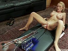 Blonde girl lies down on a sofa and toys herself. After that she also gets her vagina drilled by the fucking machine.