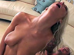 Fantastic blonde Brooke Banner with sexy big boobs and hot tattoos in the passionate fuck