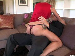 Horny and arousing golden haired bombshell Amy Brooke enjoys in seducing her neighbor and getting her shaved pussy licked and rammed hard on her couch in the room