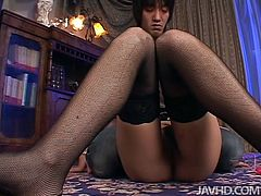 Spoiled Japanese milf in vulgar outfit hooks up with a sex greedy young dude. He takes off her clothes before she sits with legs spread aside to get her cunt tickled with vibrator.