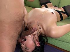 Hot blooded Japanese hoe lies on the couch with head hanging down while giving an upside down blowjob before she gets pounded in missionary style through hole in pantyhose.