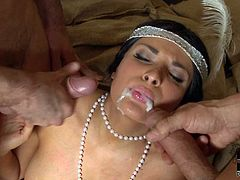 Hot Anissa Kate enjoys large dicks pounding her fresh holes in wild threesome