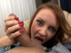 This kinky and sassy redhead angel Janet Mason is so fucking high from the feelings of a tasty cock in her mouth. This is POV and you will also feel her mouth!