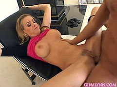 Busty blonde beauty receives one long dick deep down her ass in amazing anal scene