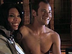 Transsexual Alyssa Hung gives hot blowjob to the guy in the prison ward. After that this tranny ties a guy up and fucks him deep in the ass.