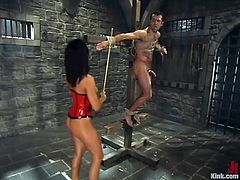The corset-clad vixen Sandra Romain is going to tie a guy up to face sit him, torture his cock and spank his butt.