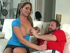 Pretty hot chick with slutty overlook Kitana Baker is getting her twat fondled by some fucker and gives him deepthroat blowjob.