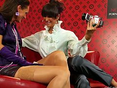 Two horn made milfs hook up for steamy lesbian games. Spoiled red-haired slut bends over a chair to get her greecy vagina finger fucked by insatiable brunette hoe.