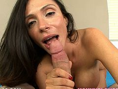 This kinky and slender brunette angel is a milf with some oral skills. She gets down on that cock, showing her tits and sucking it with love and care!