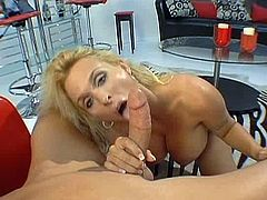 Holly Halston is one hot porn starlet that is gifted with a pair of humungous pair of tits. She is also a gifted cock-sucker. Watch how she delivers the most amazing blowjobs to her lovers stiff cock.