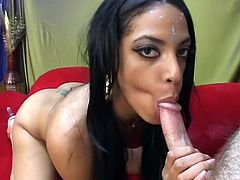 With her silky dark hair and lustful eyes that shine like diamonds in the sky, she looks too hot to be true. She takes her lover's dick in her slutty mouth with pleasure keeping her amazing eyes open and sucks it greedily until he moans with pleasure.