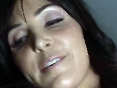Black haired slender Diana Prince with firm round hooters and arousing make up has oral session with horny Ramon and gets her tight ass banged hard in car in close up.