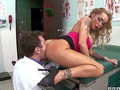 MILF Devon pays a visit to doctor James Deen to seduce him. She do it with the help of her big ass. Devon bends over and then gets her juicy butt fingered and tongue fucked from behind.