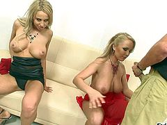 Jessica Moore and Mandy Dee are two really arousing and busty blonde hotties and they enjoy in taking on the same hard rod in their living room in front of the cam