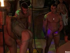 Christian Wilde and other buggers bind handsome tattooed stud Spencer Reed and make him suck their schlongs. Then they fuck his ass doggy style by turns and make him moan loudly.