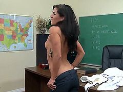 Naughty pale schoolgirl Missy Maze with natural boobs and round delicious bums in lace undies gets naked while teasing black bull Flash Brown and takes on his monster cock in classroom.