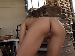 Brunette Candy Love gets her throat stuffed full of man meat in blowjob action with horny dude