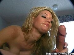 Wild and horny golden haired amateur babe with hot figure and sexy ass enjoys in giving head on her knees in front of the camera in the motel room