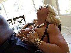 Black and turned on dude Lexington Steele gets his hands on a busty and arousing golden haired pale milf Alura Jenson and gets a nasty blowjob from her on chair