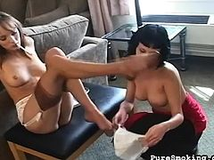 Hot babes are smoking and having intense stimulation during sexy lesbian porn session