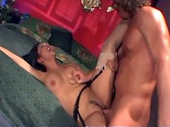 Horny asian Mika fucking in a garter belt and black thigh high stockings.Watch this Asian hot ass babe getting her holes fucked hard in this hardcore video.